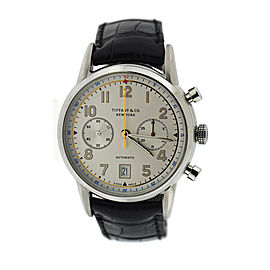 Tiffany & Co. CT60 Stainless Steel & Leather Automatic 42mm Mens Watch