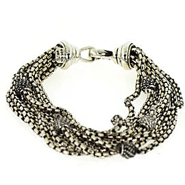 David Yurman 925 Sterling Silver 8 Strand Black/White Diamonds Bracelet
