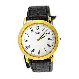 Piaget Altiplano 9920 18K Yellow Gold / Leather 33mm Unisex Watch