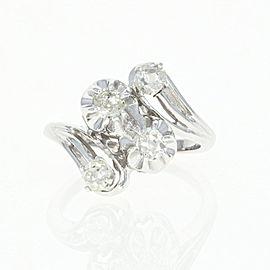14K White Gold Diamond Ring Size 3