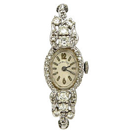 Hamilton 14K White Gold Manual Wind Vintage 15mm Womens Watch