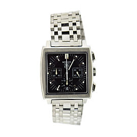 Tag Heuer Monaco CW2111 Stainless Steel Black Dial Automatic 38mm Mens Watch