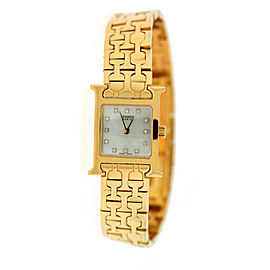 Hermes H Mini HH1.170 18K Rose Gold wDiamond Quartz 17.5mm Womens Watch