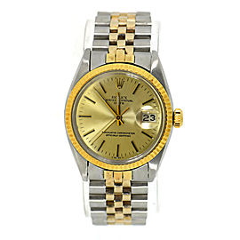 Rolex Oyster Perpetual Date 1501 Yellow Gold and Stainless Steel Automatic 34mm Unisex Watch