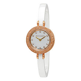 Bulgari B.Zero1 102088 18K Rose Gold/Ceramic White Diamond Dial Quartz 23mm Womens Watch