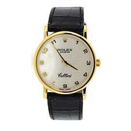 Rolex Cellini 5115 18K Yellow Gold & Leather Mother Of Pearl Dial Manual 31.5mm Womens Watch
