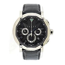 Graff ChronoGraff CG45DLCWG 18K White Gold & Leather Automatic 45mm Mens Watch