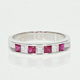 14K White Gold Ruby, Diamond Wedding Ring