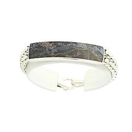 David Yurman Pietersite 925 Sterling Silver ID Style Box Chain Bracelet