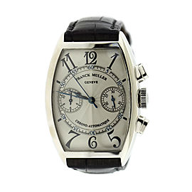 Franck Muller 5850 CC 18K White Gold & Leather Automatic 32mm Mens Watch