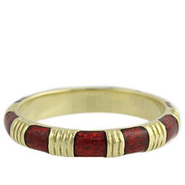 Hidalgo 18K Yellow Gold with Red Enamel Stackable Band Ring Size 6.5