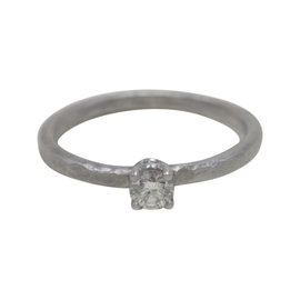 Tiffany & Co. Paloma Picasso 18K White Gold Hammered Diamond Ring Size 6.5