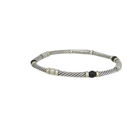 David Yurman Sterling Silver and 14K Yellow Gold with Black Onyx and Pearl Cable Bracelet