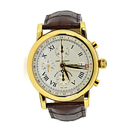 Montblanc Star GMT 102345 18K Yellow Gold & Leather Automatic 42mm Mens Watch