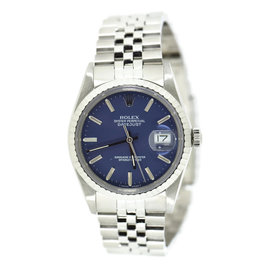 Rolex Datejust 16030 Stainless Steel Blue Dial Automatic Vintage 36mm Unisex Watch