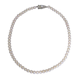 Mikimoto Sterling Silver Saltwater Cultured Pearl Vintage Necklace