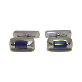 Cartier Cle de Carier Sterling Silver with Blue Spinel Cufflinks