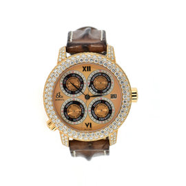 Jacob & Co. GMT-7RGDC 18K Rose Gold & Leather with Diamond Automatic 48mm Mens Watch
