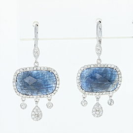 Meira T 14K White Gold Sapphire, Diamond Earrings