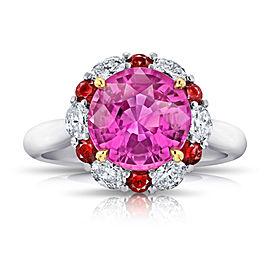 Platinum 18K Yellow Gold 4.04ct. Sapphire 0.56ctw. Diamond 0.36ctw. Ruby Ring Size 7