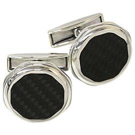 BVLGARI 925 Sterling Silver Octo Onyx Cufflinks
