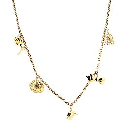 Christian Dior Vintage 5 Charm 18K Yellow Gold Necklace