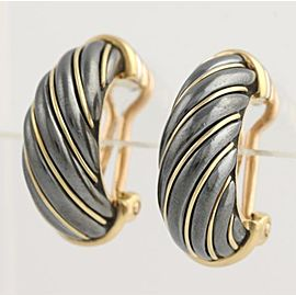 Cartier Half 18K Yellow Gold, Sterling Silver Earrings