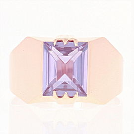 14K Rose Gold Synthetic Sapphire, Sapphire Ring Size 10.75