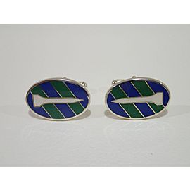 Tiffany & Co. Sterling Silver Enamel Cufflinks