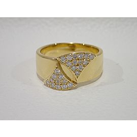 Mikimoto 18K Yellow Gold Diamond Ring Size 8.5