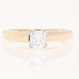 14K Yellow Gold, Platinum Diamond Engagement Ring Size 5.75