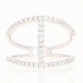 14K White Gold Diamond Ring Size 6.75