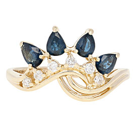 14K Yellow Gold Sapphire, Diamond Ring Size 8