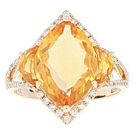 Effy 14K Yellow Gold Citrine, Diamond Ring Size 7.25