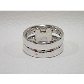Hermes 18K White Gold Diamond Ring Size 5.25