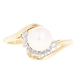 14K Yellow Gold Cultured Pearl, Diamond Ring Size 10.75