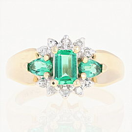 14K Yellow Gold Synthetic Emerald, Diamond, Emerald Ring Size 6.75