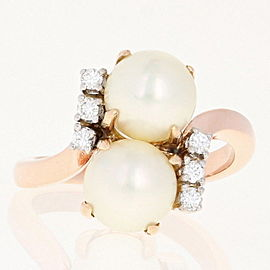 14K Rose Gold Cultured Pearl, Diamond Ring Size 6.25