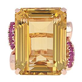 14K Rose Gold Citrine, Ruby Ring Size 8.5