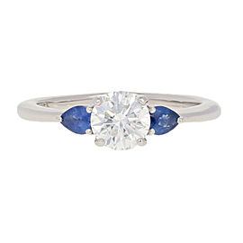 Platinum Diamond, Sapphire Engagement Ring Size 6.75