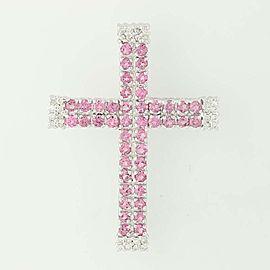 14K White Gold Sapphire, Diamond Pendant