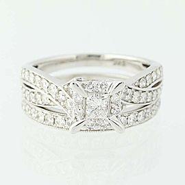 14K White Gold Diamond Wedding Ring Size 7.5