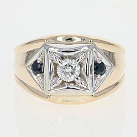 14K Yellow Gold Diamond, Sapphire Ring Size 8.25