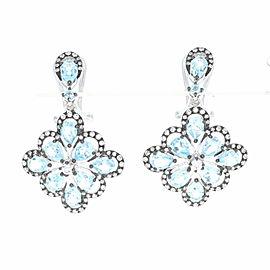 Omega 14K White Gold Topaz, Diamond Earrings