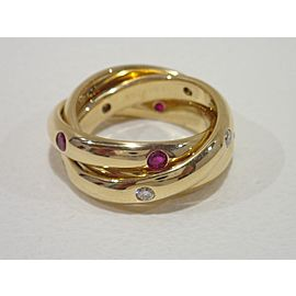 Cartier 18K Yellow Gold Ruby, Sapphire, Diamond Ring Size 5.75