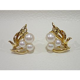 Mikimoto 18K YG Cultured Pearl Earrings