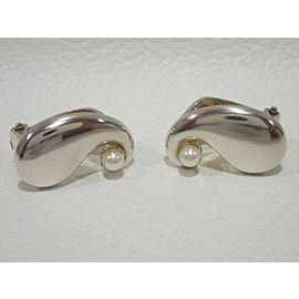Georg Jensen Sterling Silver Cultured Pearl Earrings
