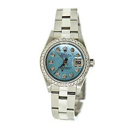Rolex Datejust Blue Dial Diamond Stainless Steel Watch 69160