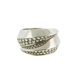 Cartier Panthere Griffe Diamond 18K White Gold Ring Size 51 New