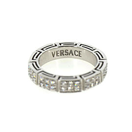 Versace Diamond 18K White Gold Ring Size 8.5